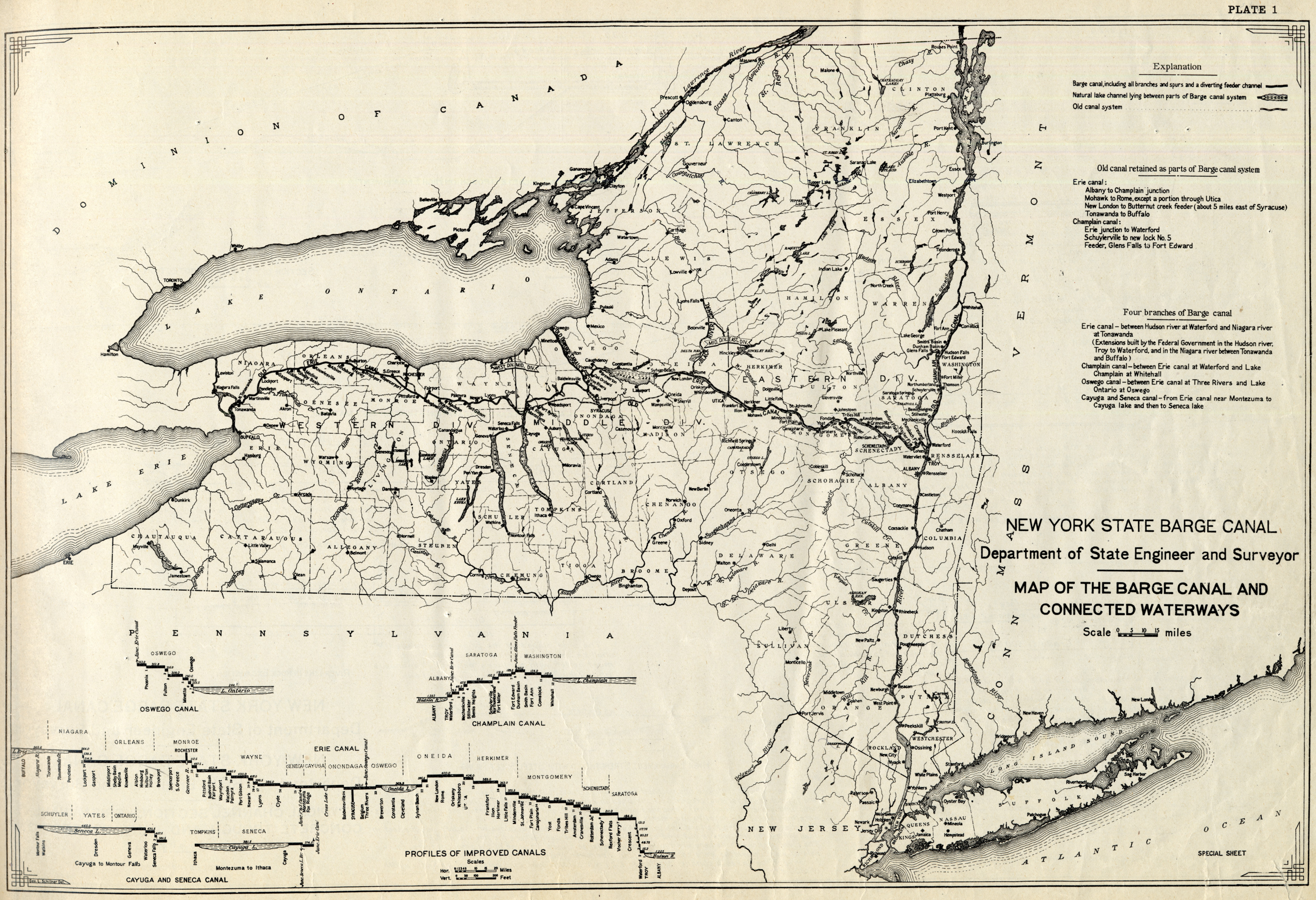Map Of New York Waterways.Book Of Plans Of The New York State Barge Canal Map Of The Barge