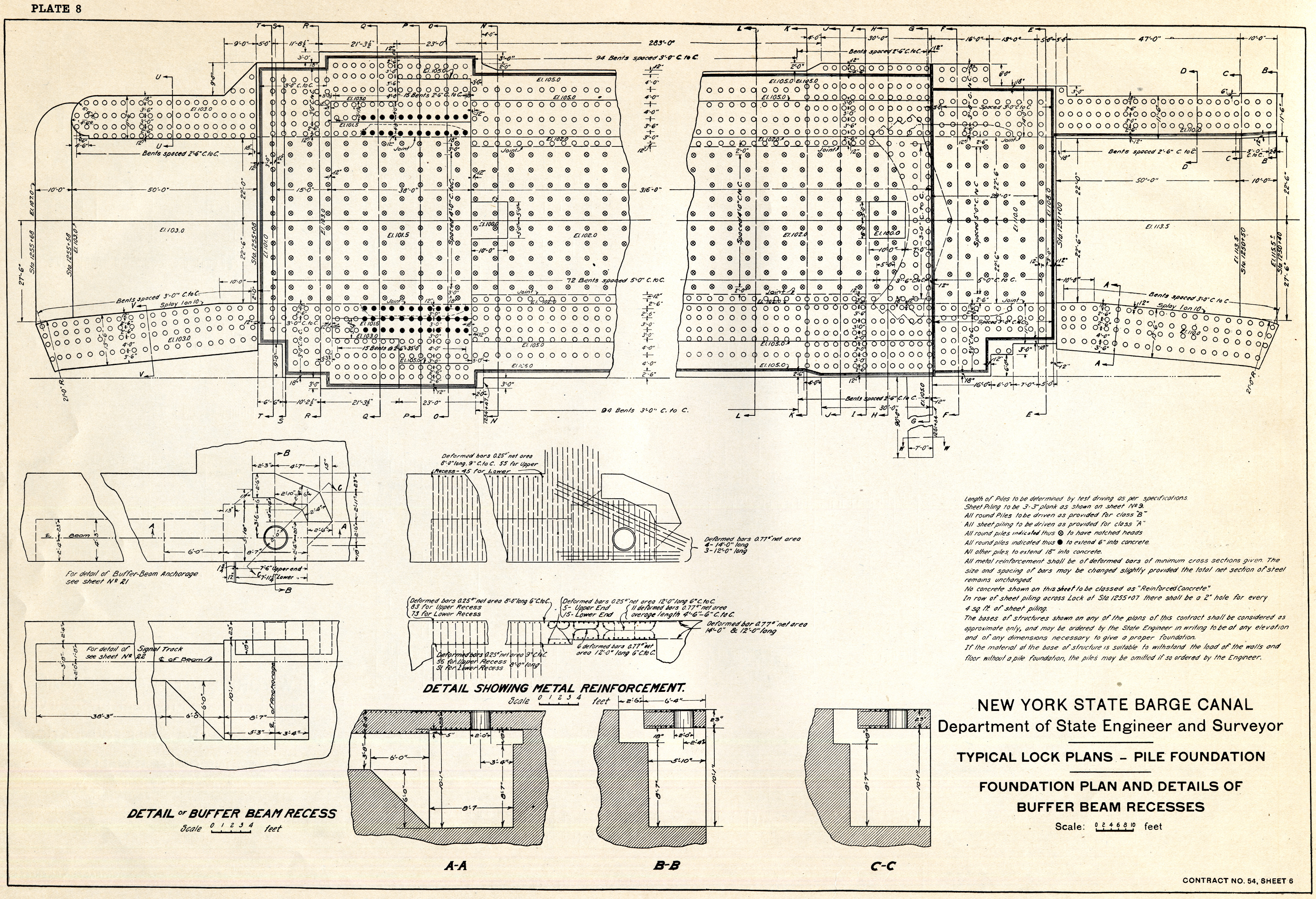 Book of plans of the new york state barge canal typical for Piling foundation house plans
